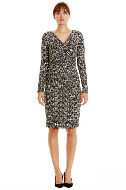 Stella Fitted Dress in Black Print