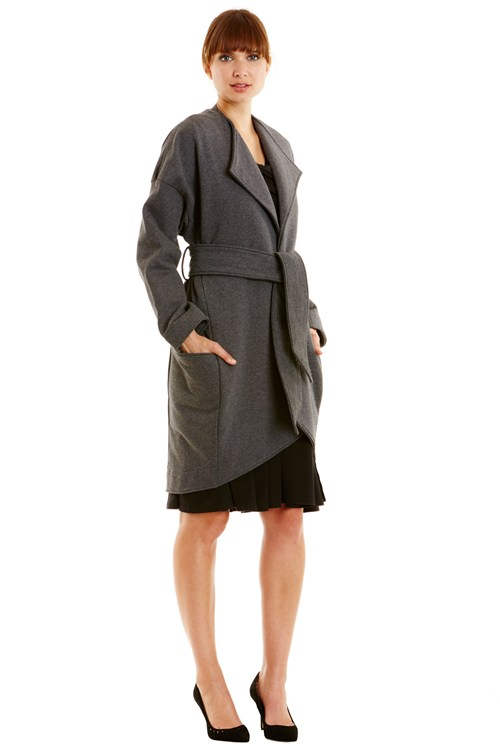 Katia Fleece Coat in Dark Grey melange